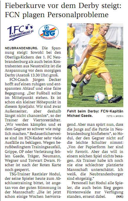 12. Spieltag: 1. FC Neubrandenburg 04 - TSG Neustrelitz Fcn-ts10