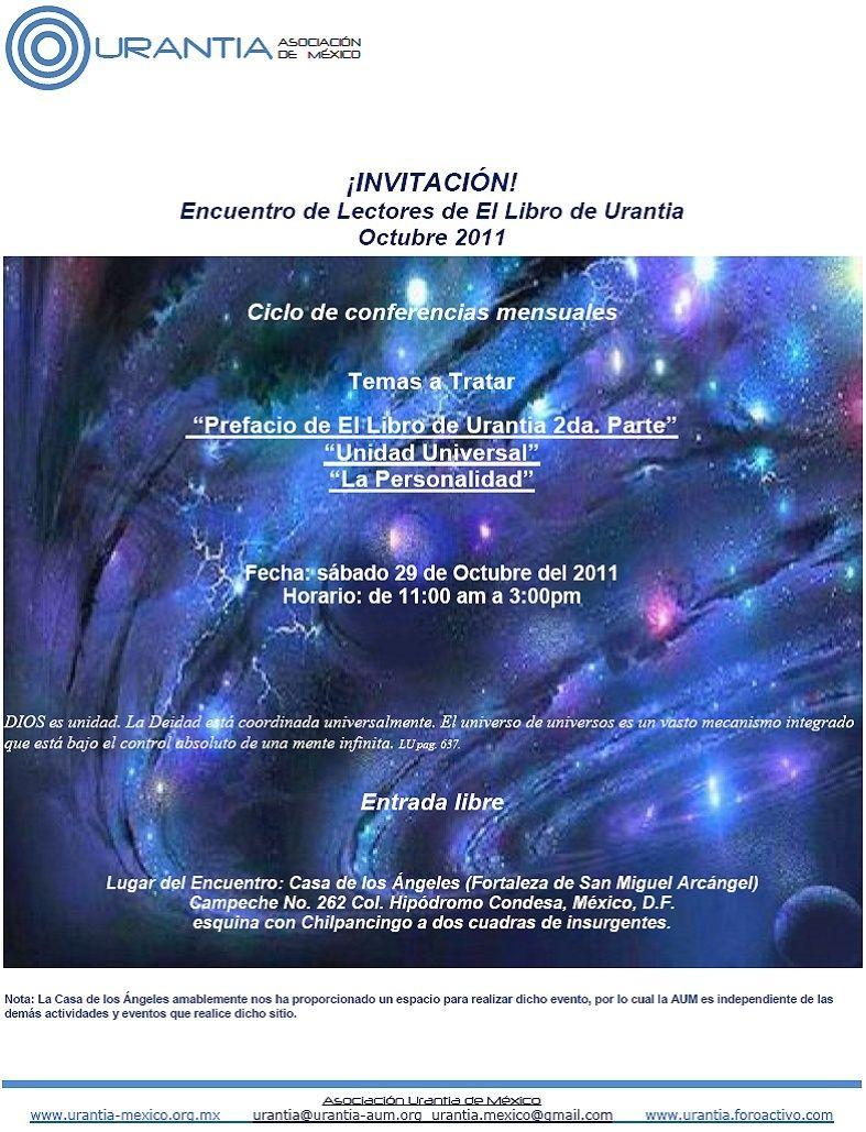 Invitación - Encuentro de Lectores del Libro de Urantia Oct. 2011, Mexico DF. Invitl10