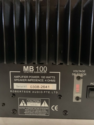 Robertson Audio MB100 Active Subwoofer (Used) B2370910