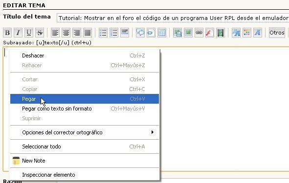 Tutorial: Mostrar en el foro el código de un programa User RPL desde el emulador. Dibujo31