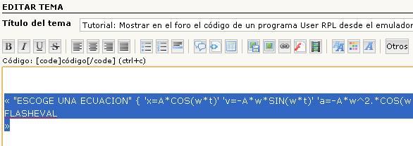 Tutorial: Mostrar en el foro el código de un programa User RPL desde el emulador. Dibujo32