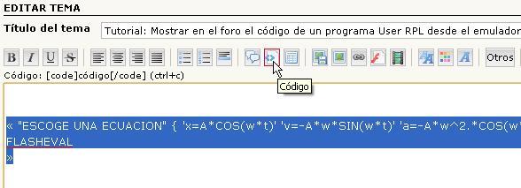 Tutorial: Mostrar en el foro el código de un programa User RPL desde el emulador. Dibujo33