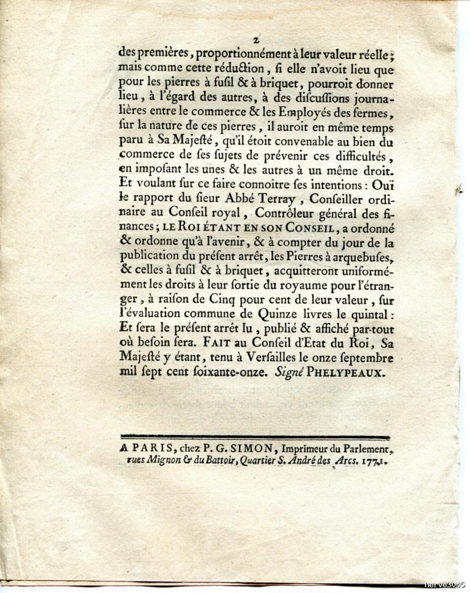 Affiche de 1771 sur l'exportation des pierres à fusils. 0110