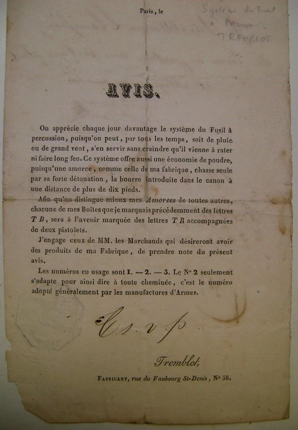 Réclame pour des amorces de fusil en 1836. Dsc06064