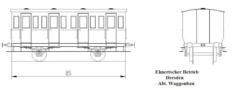 Personenwagen der Weimar-Geraer Eisenbahn, etwa 1890, M1/87 Gera-w13