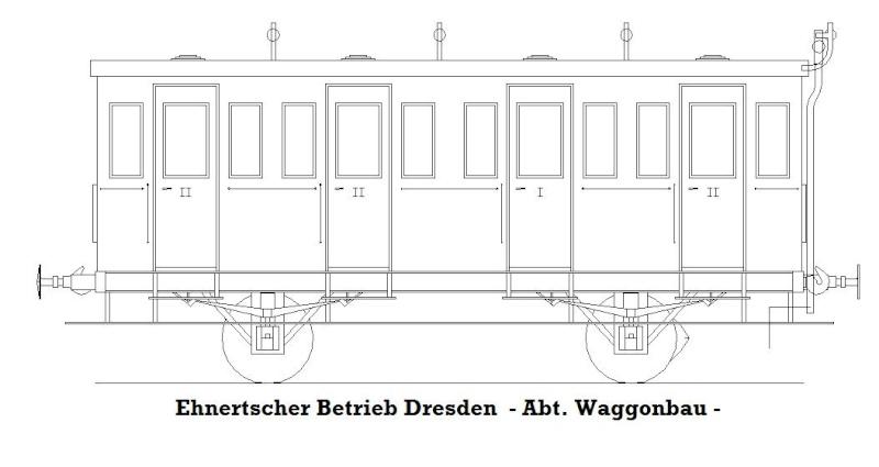Personenwagen der Weimar-Geraer Eisenbahn, etwa 1890, M1/87 Gera-w14