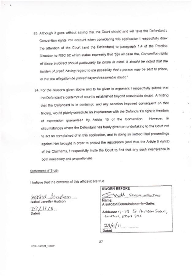 Isabel Hudson's Affidavit 2710