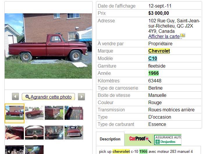 Cherche pickup GMC ou Chevrolet 1955 a 1972  - Page 2 1966pi10