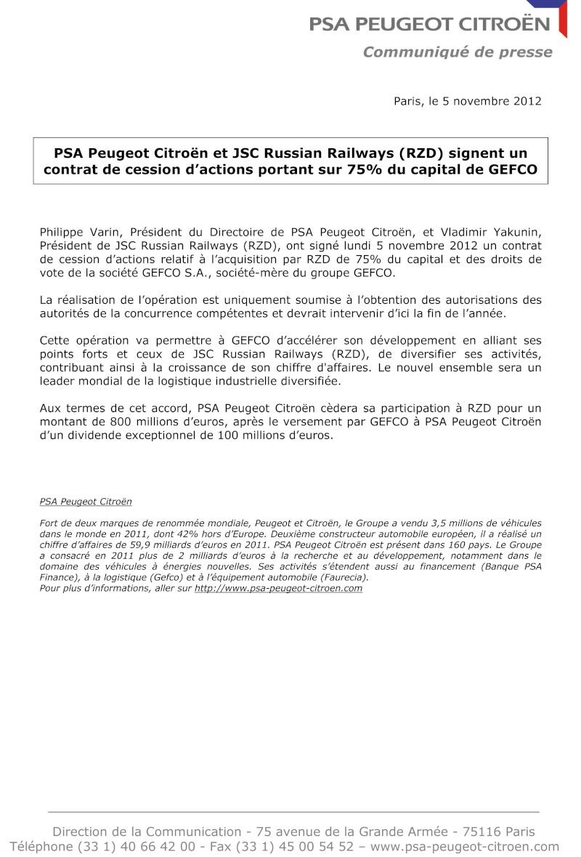 [COMMUNIQUES DE PRESSE]  PSA Peugeot Citroen - Page 2 2012-113