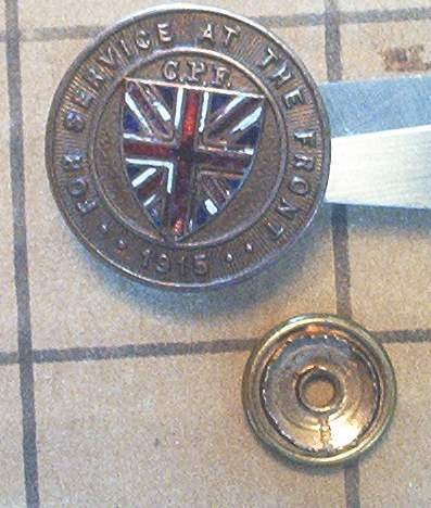 "Wanted:  Dated CEF ""For Service at the Front"" Pins Aa12"