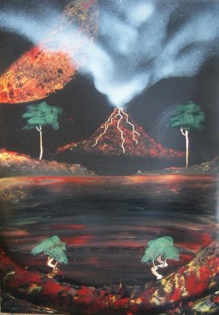 Le retour de loulou!!! et toutes mes peintures actuelles et à venir :) Volcan10