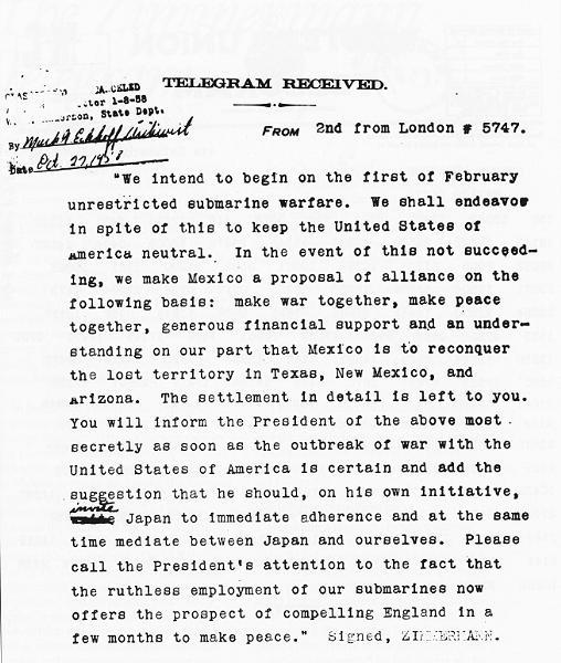 L'entrée en guerre des Etats Unis n'est pas celle que l'on croit : le télégramme de Zimmermann Zimmer11