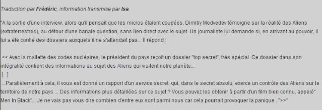 """Medvedev révèle l'existence des """"Aliens qui visitent notre planète"""" Med10"""