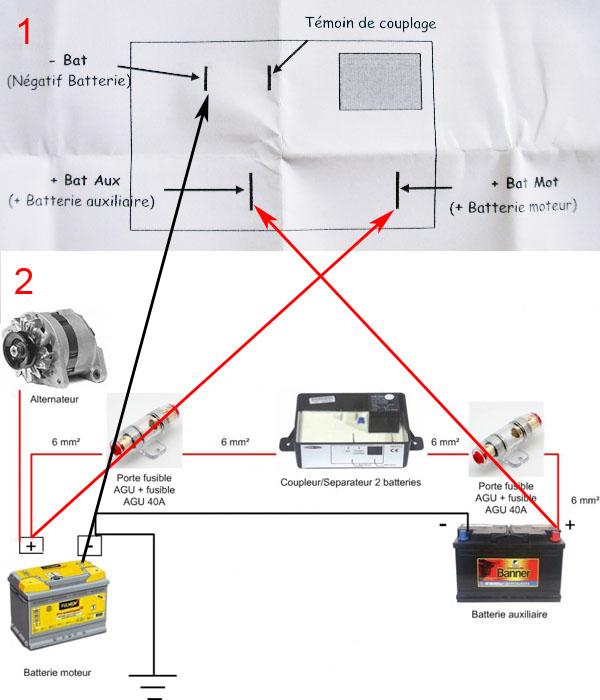 Coupleur séparateur batteries T-Max Cablag10