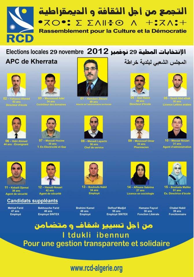Les candidats du RCD pour la commune Kherrata (Bgayet) 155