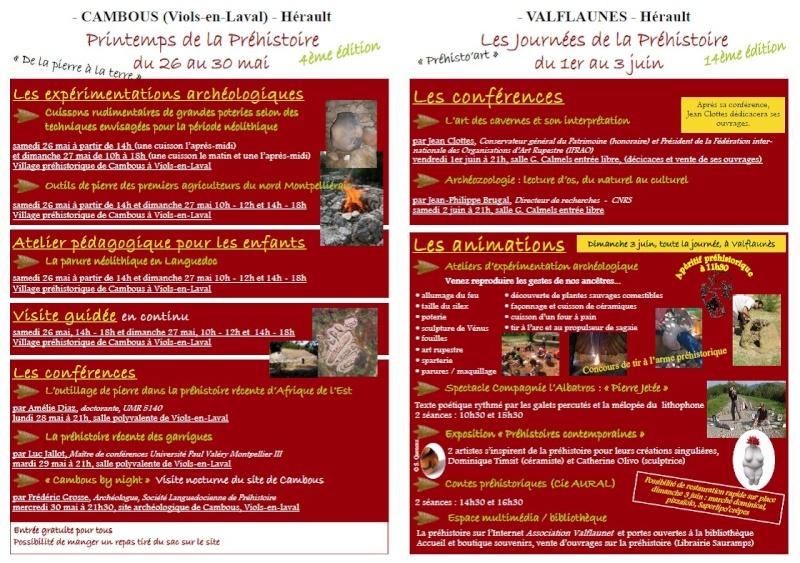 Printemps & Journée de la préhistoire du 26mai au 3 juin à Cambous et Valflaunès Valfla11