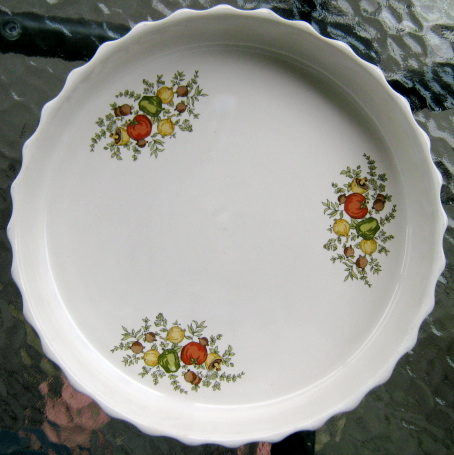 Fluted Pie Dish with vegetables and herbs pattern is Spice of Life d584 Img_1516