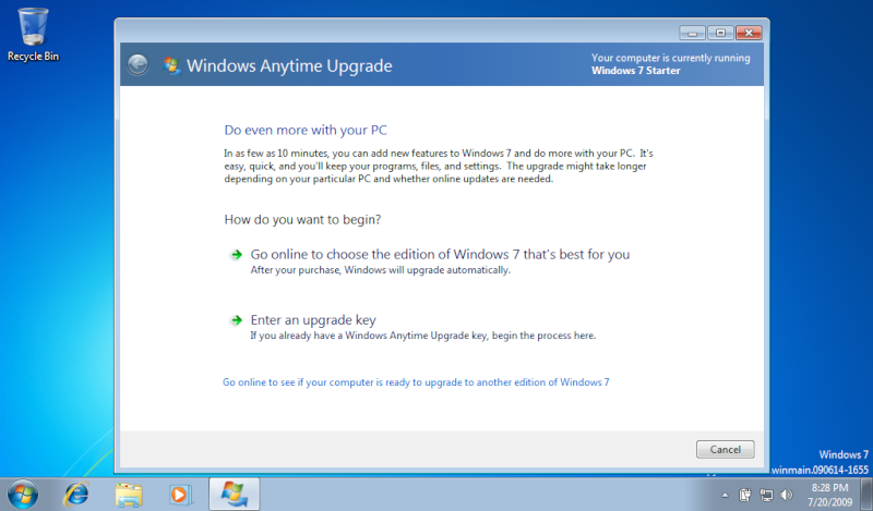 Upgrade ur Windows 7 Starter into what you want. Home Premium,Professional,Ultimate Step110