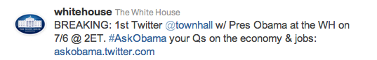 #AskObama Twitter @Townhall at the White House to stream live at 2:00 pm ET! Wh-twi10