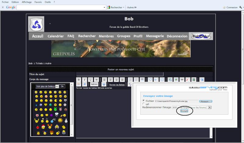 Comment mettre un screen Bob11
