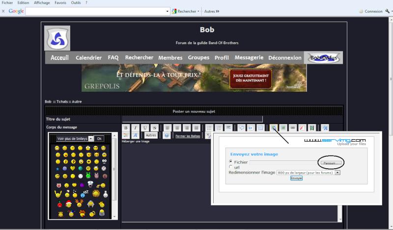 Comment mettre un screen Bob110