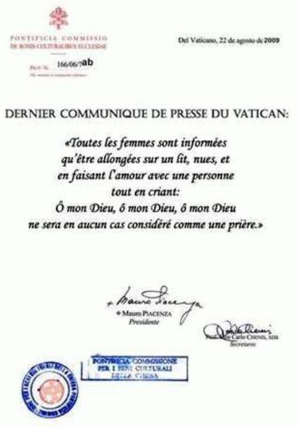 Communiqué du Vatican. Mon_di10