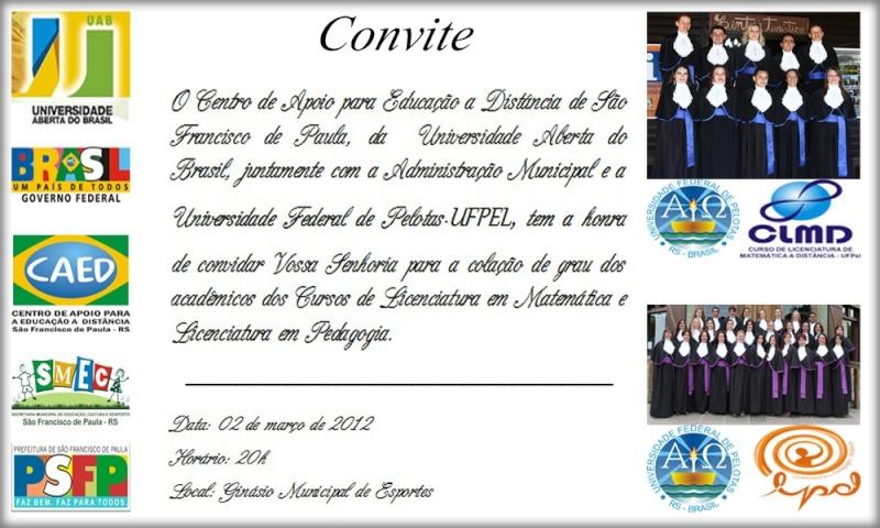 Convite Formatura de Matemática e Pedagogia Convit14