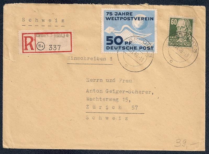 DDR - Briefmarkenausgaben 1949  Scann848