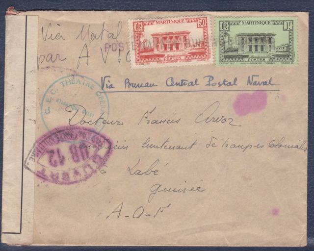 Lettre de la Martinique avec obl. linéaire Poste Navale Bureau Central. _a_10