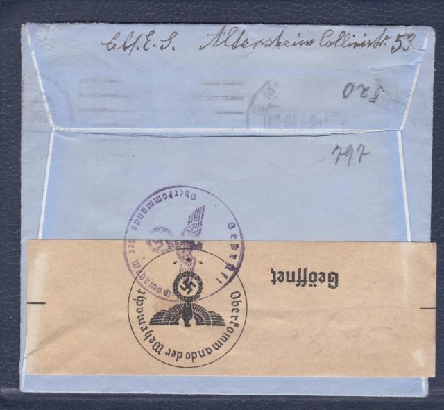 """Les marques des censeurs """"lecteurs"""" des centres de contrôle allemands : e Francfort/Main. _e_11a12"""