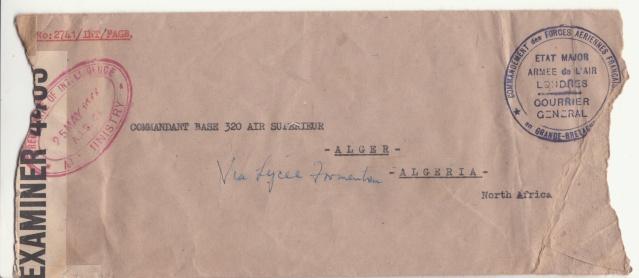 Lettre de EM de l'armée de l'air de Londres pour Alger. _gb_110
