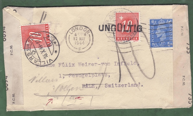 Lettre de Londres pour la Suisse contrôlée à Nancy. _nancy10