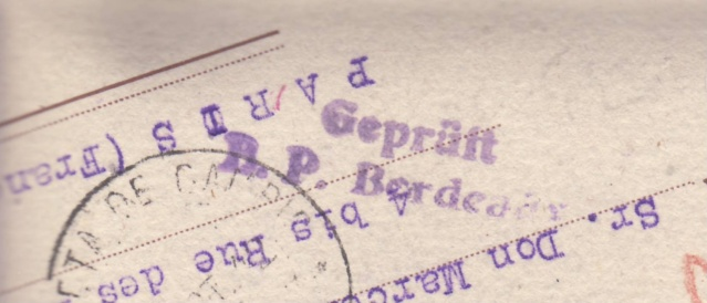 """Les marques des censeurs """"lecteurs"""" des centres de contrôle allemands : y : Bordeaux. _y210"""