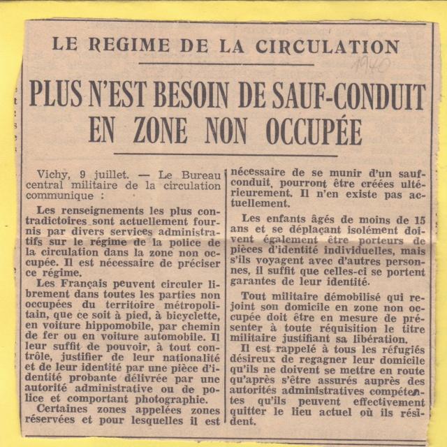 Le régime de la circulation en zone non occupée à partir du 09 juillet 1940 _yc10