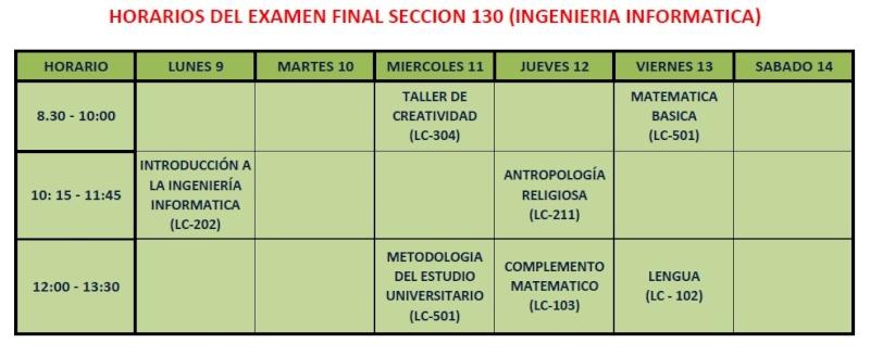 HORARIO DE EXAMENES FINALES SECCION 130 Horari10