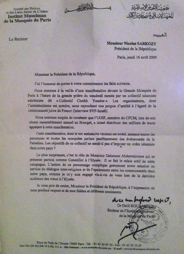 Quand Dalil Boubakeur écrit à Nicolas Sarkozy Letbou10