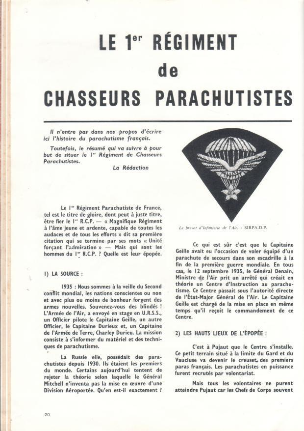 DEBUT  DES PARACHUTISTES DU 1 ER RCP Dh-1rc11