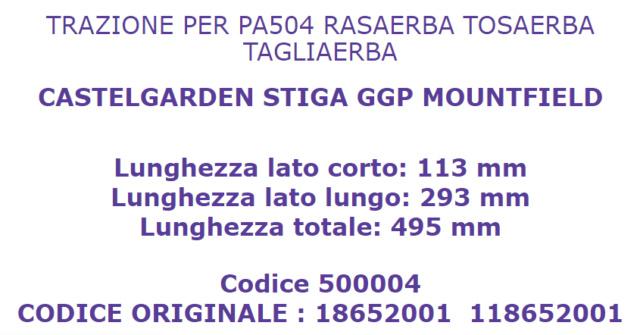 *Trazione per tagliaerba Castelgarden PA 504 TR Cast10