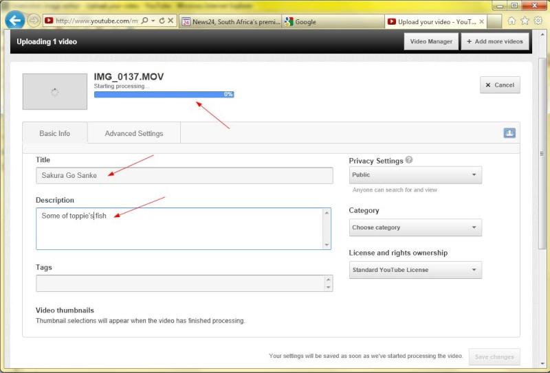 Process on uploading video's Vid410