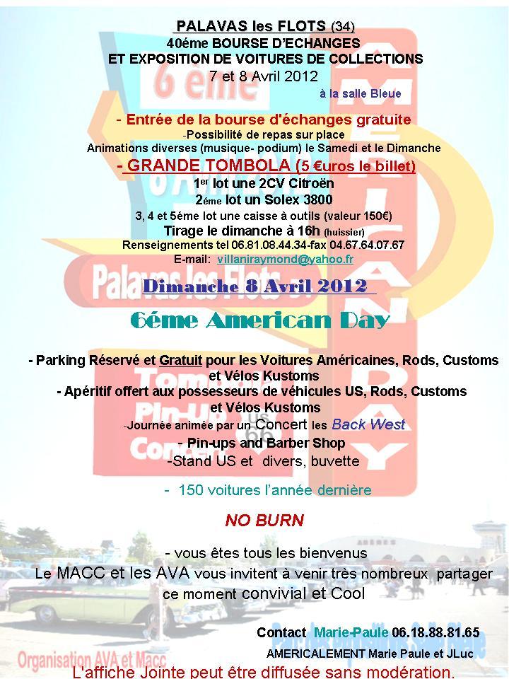 6ème AMERICAN DAY   le 8 AVRIL 2012 PALAVAS les FLOTS (34) Flyer11