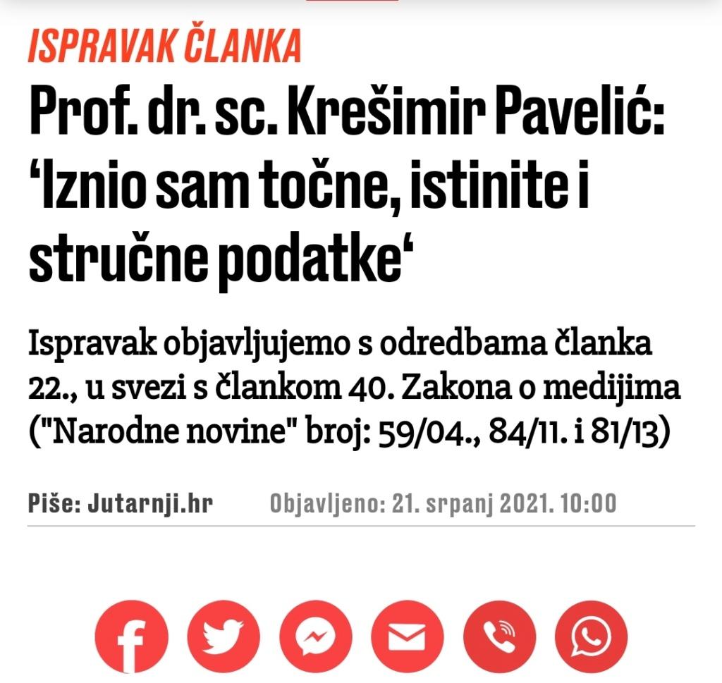 Prof. dr. sc. Krešimir Pavelić: 'Iznio sam točne, istinite i stručne podatke' Img_2376