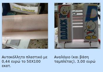 Αυτοκόλλητο πλαστικό, αναλόγιο (και βάση ταμπλέτας), σετ γραφείου με κομπιουτεράκι, διακορευτής, σφραγιδοθήκη Screen18