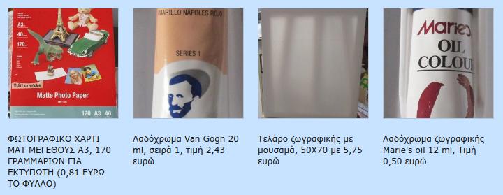 Προθήκη, φωτογραφικό χαρτί, λαδόχρωμα, τελάρα Screen70