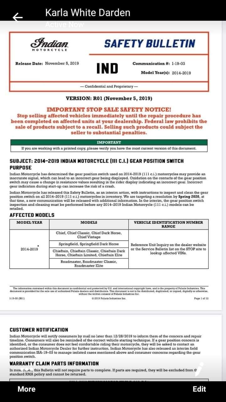 Campagne de rappel à venir (en 2020 ?) sur capteur sélecteur vitesse 111ci ? I-19-010