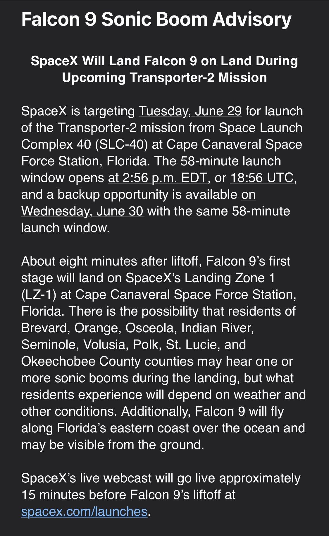 Falcon 9 (Transporter-2) - CCSFS - 30.6.2021 12047