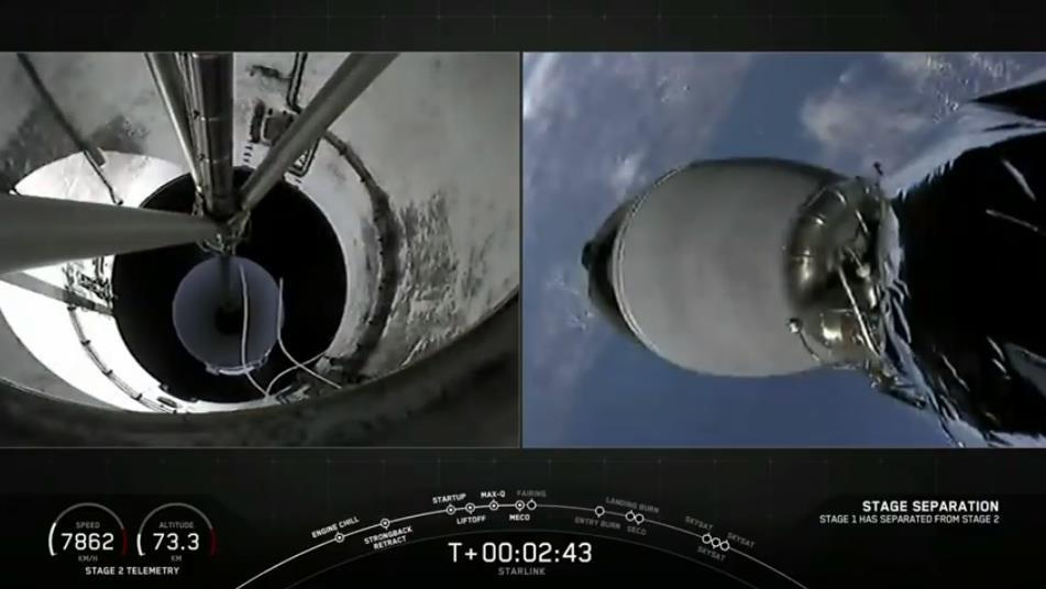 Falcon 9 (Starlink v1.0 L10 + SkySat 19–21) - CCAFS - 18.8.2020 [Succès] Scre1483
