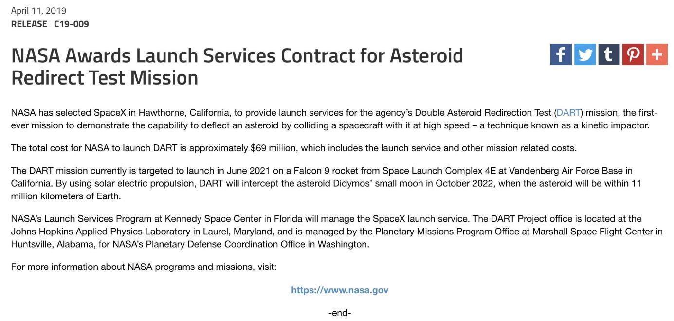 Mission DART (Astéroïde Didymos) - Juin 2021 Scree540