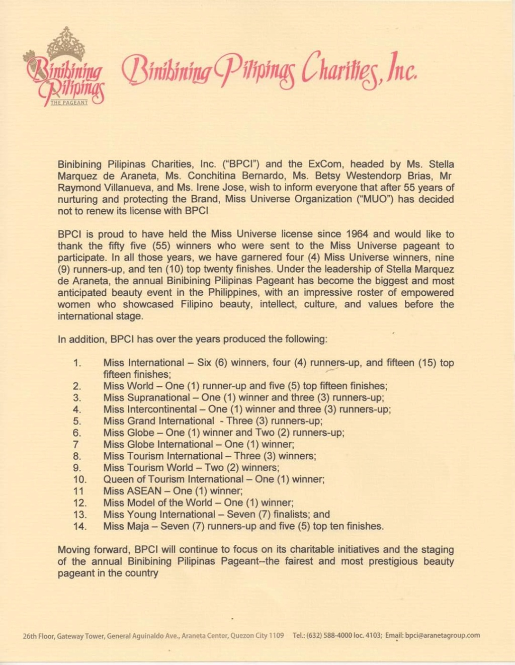 BPCI Statement after losing the Miss Universe Philippines franchise  Fb_14358