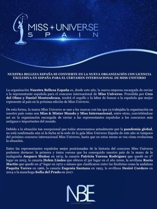 The new license holder for #MissUniverse Spain is Nuestra Belleza España.  Fb_15315