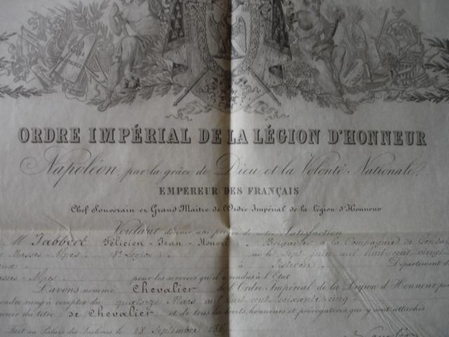 diplôme ordre impérial de la legion d'honneur d'un gendarme Dsc09257